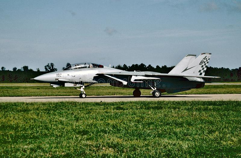 USN Grumman F-14A Tomcat BuNo 16210 ready for its next mission at NAS Oceana on October 1, 2004. stock image