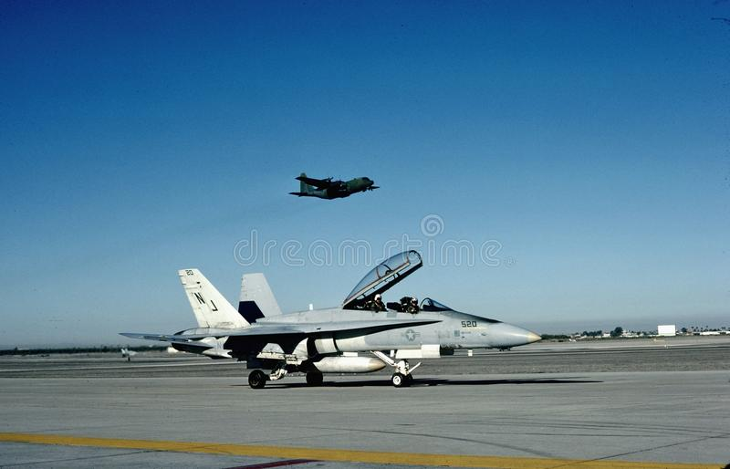 USN McDonnell Douglas F/A-18B CAS Yuma, Az 1985. United States Navy McDonnell Douglas F/A-18B BuNo 161746 CN C103/B030 on January 19, 1985 during winter training royalty free stock photo