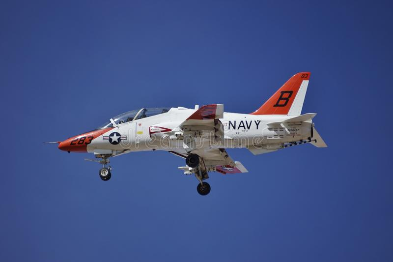 USN T-45C Goshawk landing at NAF El Centro in 1016. A United states Navy McDonnell Douglas T-45C Goshawk BuNo 165637 CN C095 doing touch and goes at Navel Air royalty free stock photography
