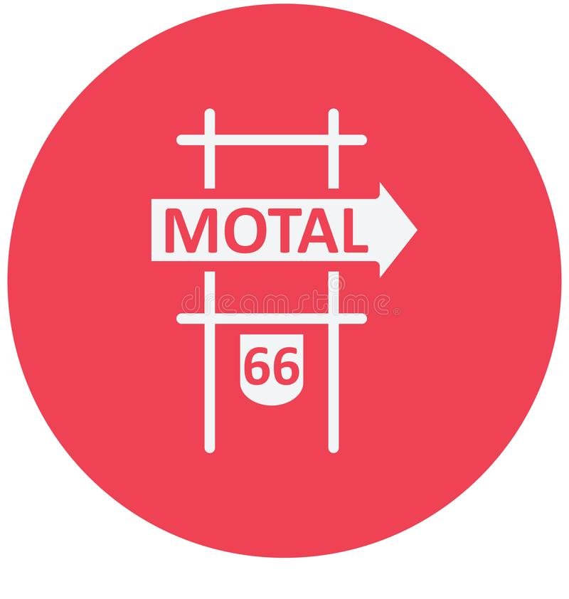Uso aislado muestra del icono del vector del motel para los proyectos del viaje y del viaje stock de ilustración