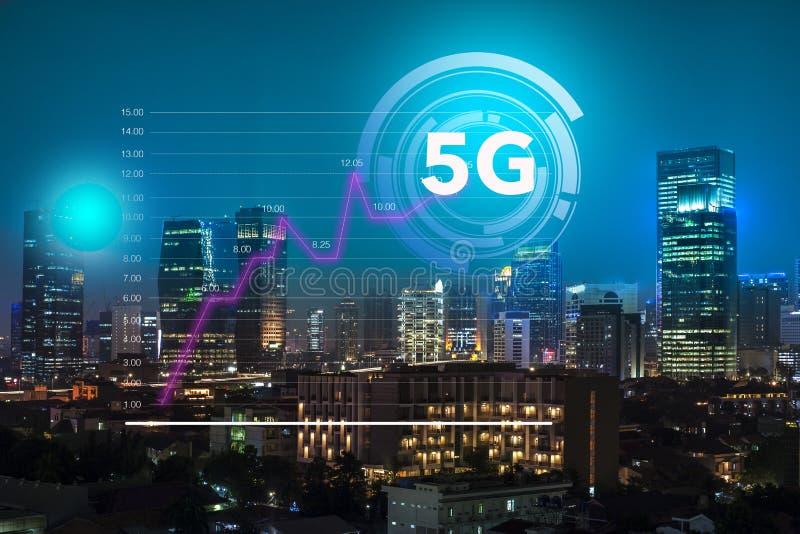 Uso aumentado do Internet rápido ao sistema da tecnologia 5G no centro de negócios da cidade de Jakarta, que mostras imagem de stock royalty free