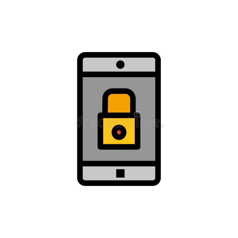 Uso, cerradura, uso de la cerradura, móvil, icono plano del color de la aplicación móvil Plantilla de la bandera del icono del ve ilustración del vector