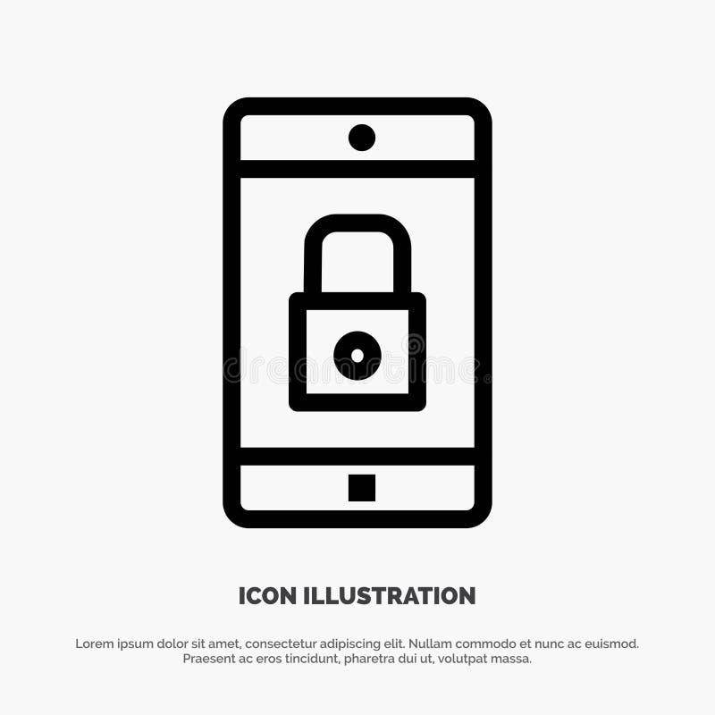 Uso, cerradura, uso de la cerradura, móvil, línea vector de la aplicación móvil del icono stock de ilustración