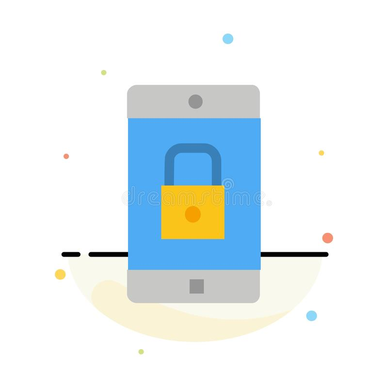 Uso, cerradura, uso de la cerradura, móvil, plantilla plana del icono del color del extracto de la aplicación móvil libre illustration