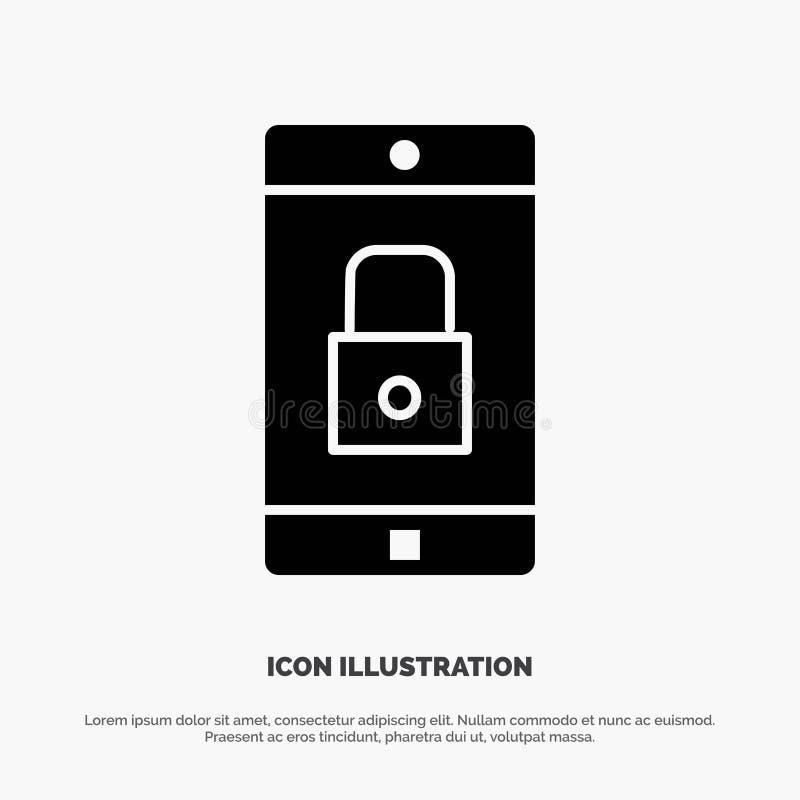 Uso, cerradura, uso de la cerradura, móvil, vector sólido del icono del Glyph de la aplicación móvil libre illustration