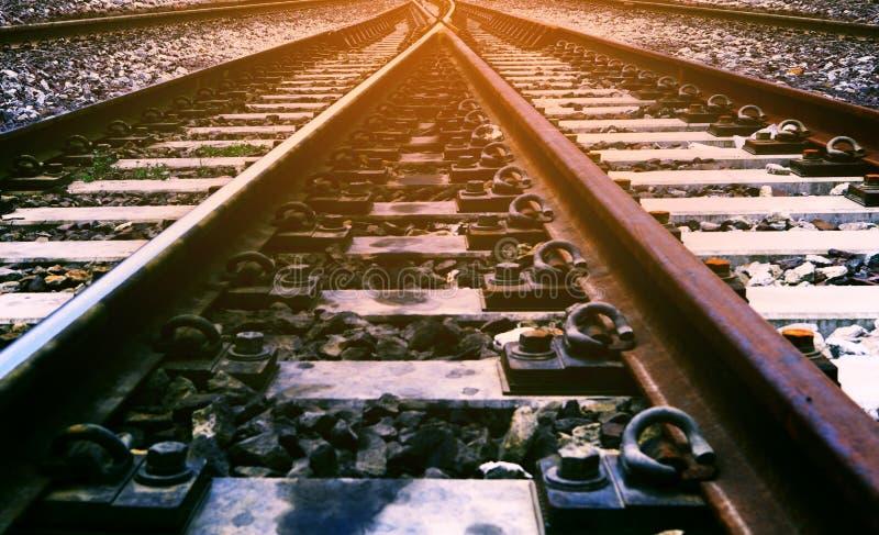 Uso da junção Railway para o transporte e o transporte do trilho dentro foto de stock royalty free