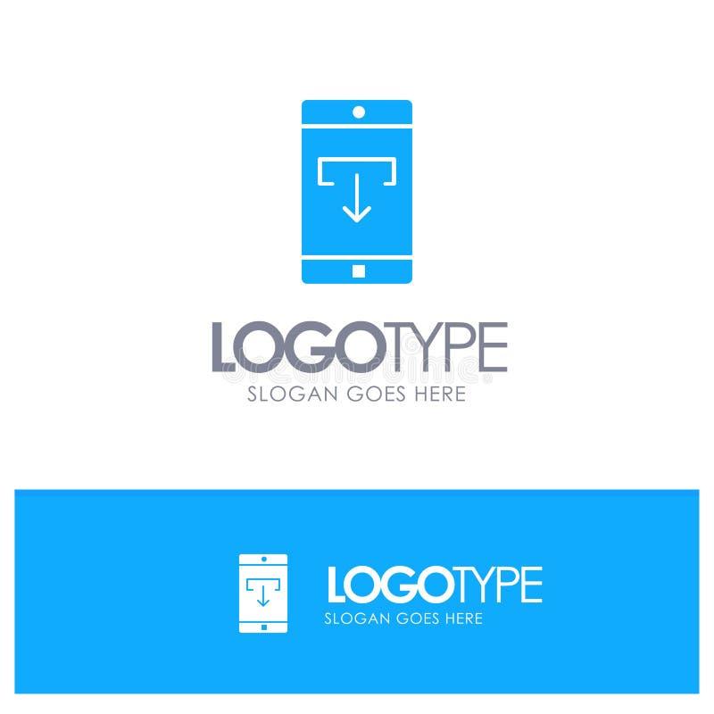 Uso, datos, transferencia directa, móvil, logotipo sólido azul de la aplicación móvil con el lugar para el tagline ilustración del vector