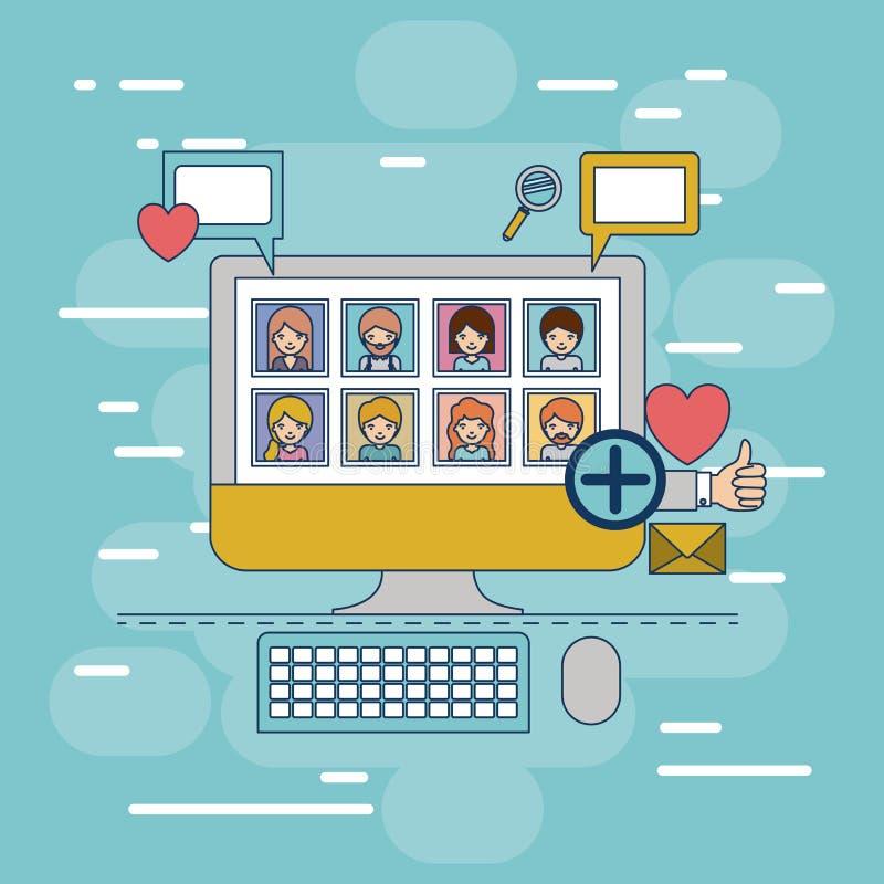 Uso de la foto de las multimedias en equipo de escritorio de la tecnología del dispositivo con los iconos en fondo decorativo col stock de ilustración