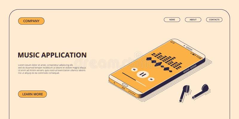 Uso de la música en el teléfono móvil con los auriculares inalámbricos del bluetooth en el ejemplo isométrico del vector stock de ilustración