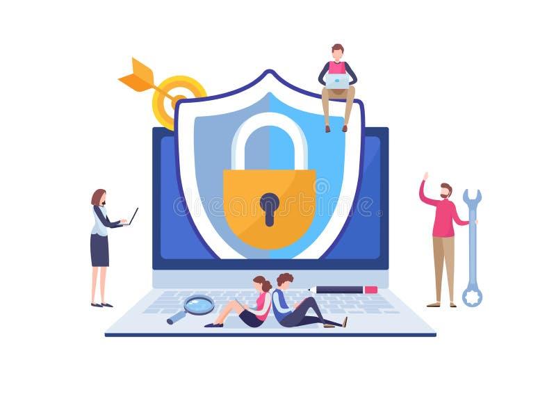 Uso de la protección de seguridad del antivirus Red de los datos de trabajo del programador Vector miniatura del ejemplo de la hi libre illustration