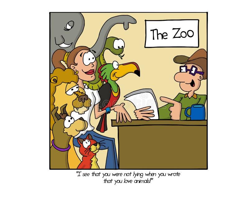 Uso de trabajo para el parque zoológico local ilustración del vector