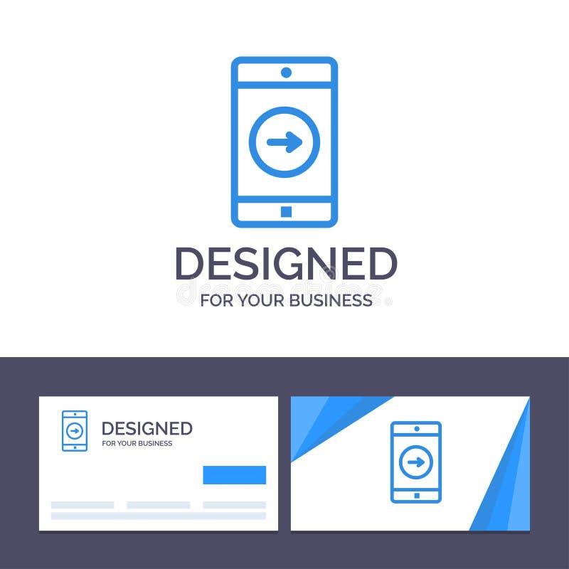 Uso de visita de la plantilla creativa de la tarjeta y del logotipo, la derecha, móvil, ejemplo del vector de la aplicación móvil ilustración del vector