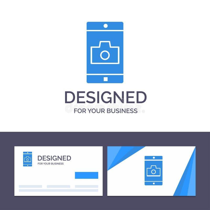 Uso de visita de la plantilla creativa de la tarjeta y del logotipo, móvil, aplicación móvil, ejemplo del vector de la cámara ilustración del vector