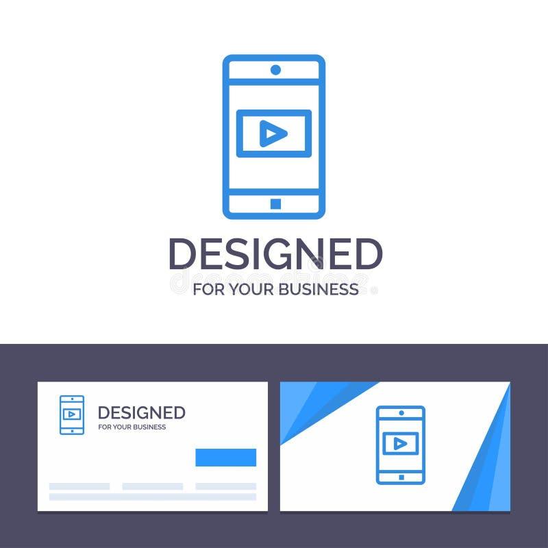 Uso de visita de la plantilla creativa de la tarjeta y del logotipo, móvil, aplicación móvil, ejemplo video del vector stock de ilustración