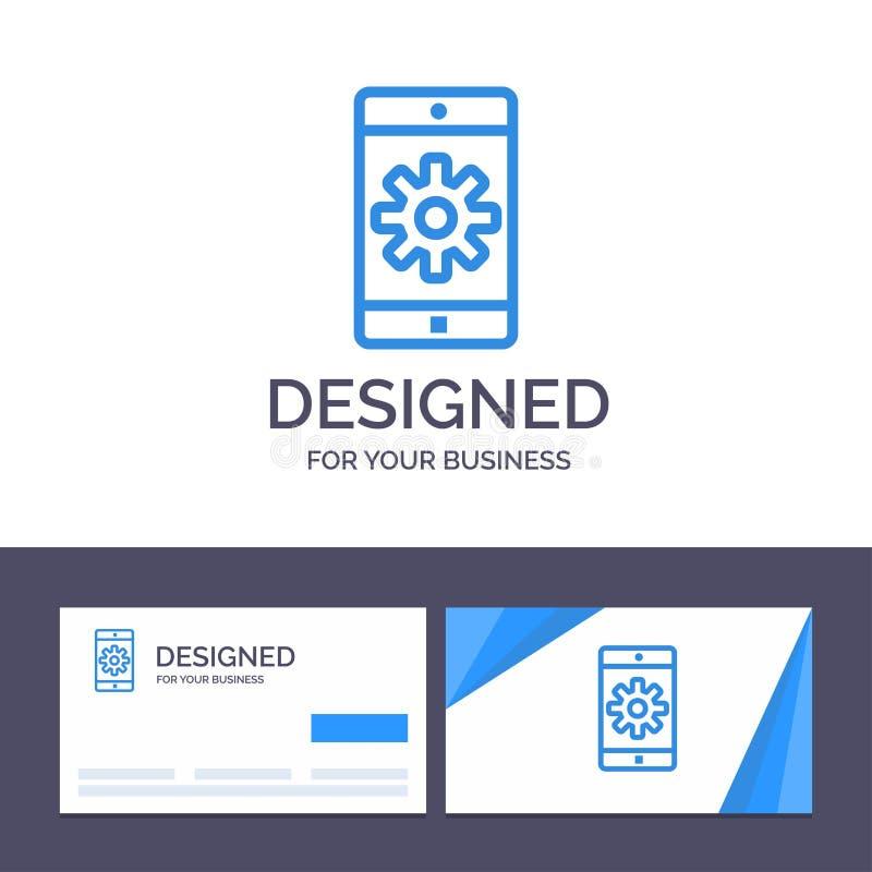 Uso de visita de la plantilla creativa de la tarjeta y del logotipo, móvil, aplicación móvil, fijando el ejemplo del vector libre illustration