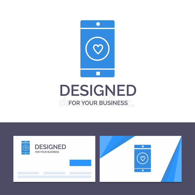 Uso de visita de la plantilla creativa de la tarjeta y del logotipo, móvil, aplicación móvil, gusto, ejemplo del vector del coraz stock de ilustración