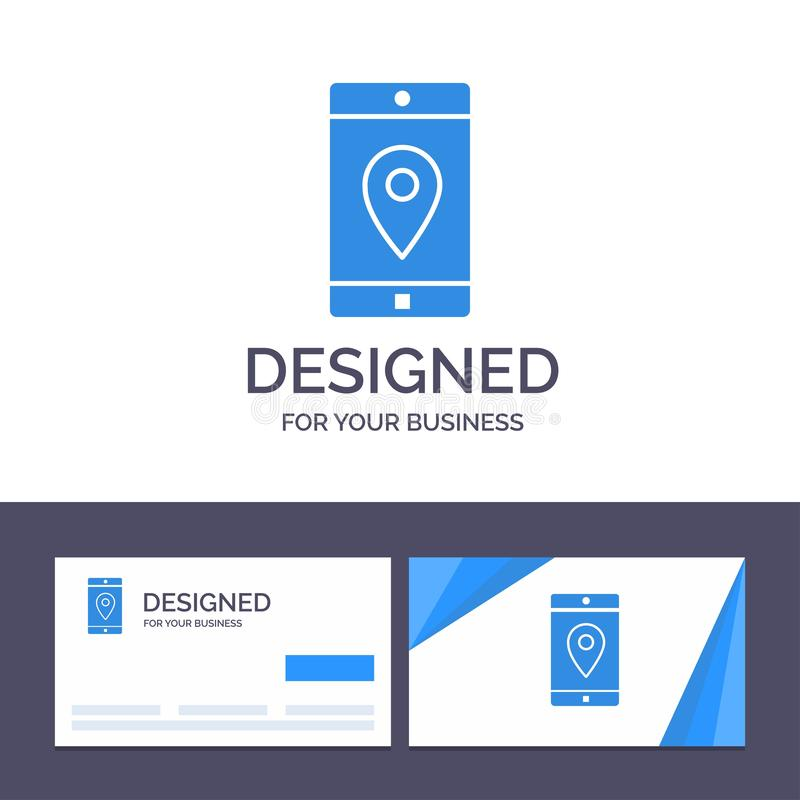 Uso de visita de la plantilla creativa de la tarjeta y del logotipo, móvil, aplicación móvil, ubicación, ejemplo del vector del m stock de ilustración