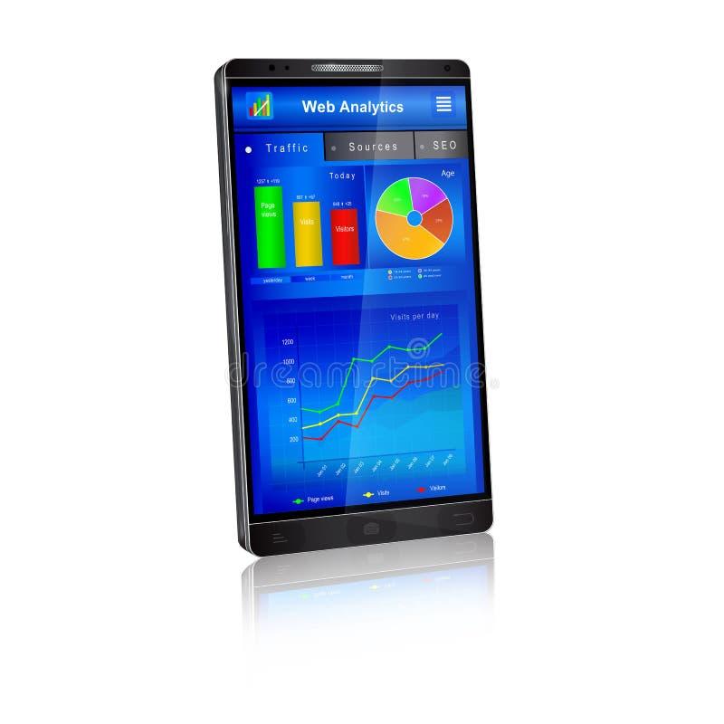 Uso del analytics del web en la pantalla del smartphone ilustración del vector