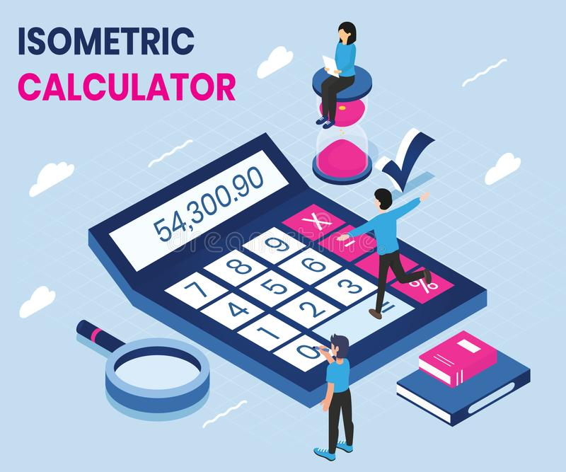 Uso del calcolatore in una progettazione di massima isometrica del materiale illustrativo illustrazione di stock