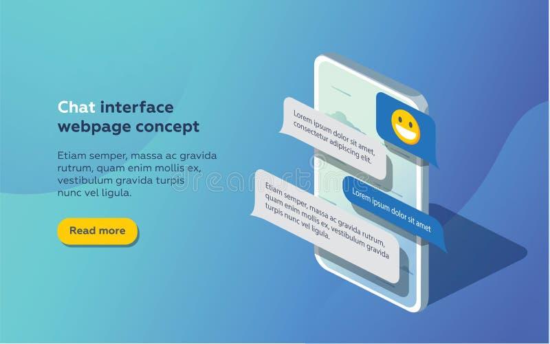 Uso del interfaz de la charla con la ventana del diálogo Limpie el concepto de diseño móvil de UI Mensajero del SMS stock de ilustración