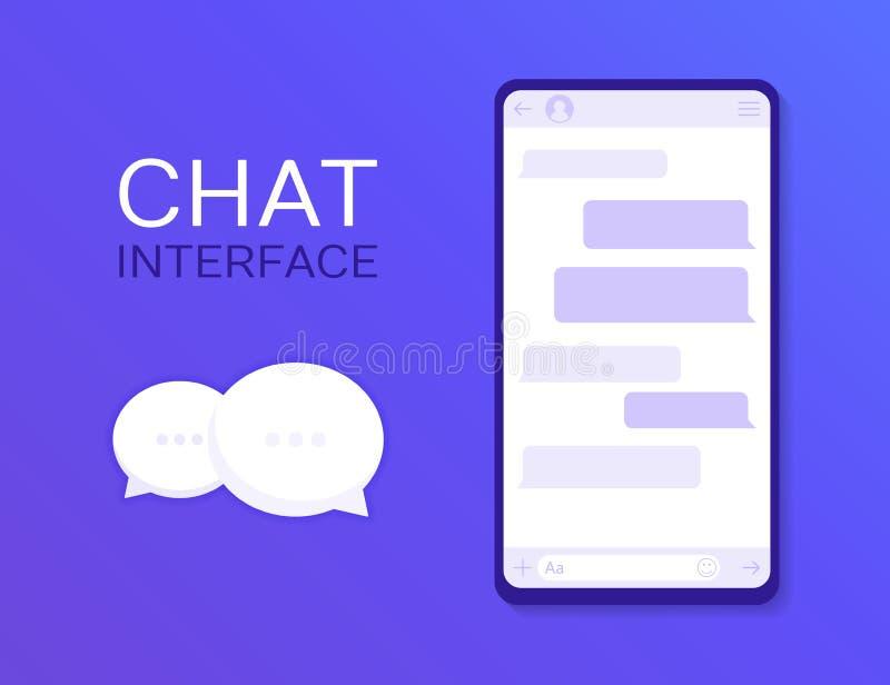 Uso del interfaz de la charla con la ventana del diálogo Limpie el concepto de diseño móvil de UI Mensajero del SMS Ejemplo plano ilustración del vector