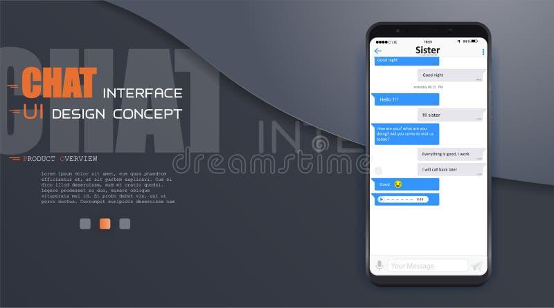 Uso del interfaz de la charla con la ventana del diálogo Limpie el concepto de diseño móvil de UI Mensajero del SMS Iconos planos stock de ilustración