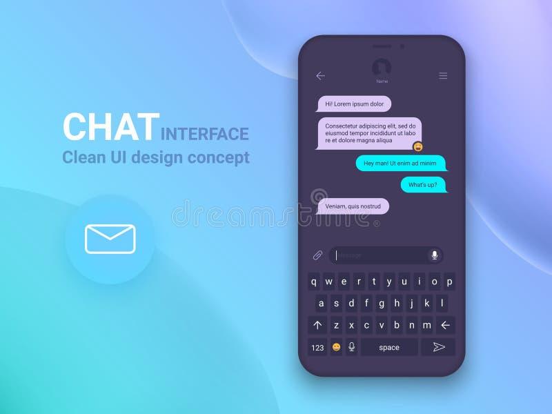 Uso del interfaz de la charla con la ventana del diálogo Limpie el concepto de diseño móvil de UI Mensajero del SMS Iconos planos fotografía de archivo libre de regalías