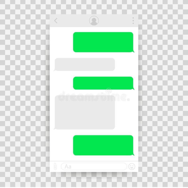 Uso del interfaz de la charla con la ventana del diálogo Limpie el concepto de diseño móvil de UI Mensajero del SMS Ilustración d libre illustration