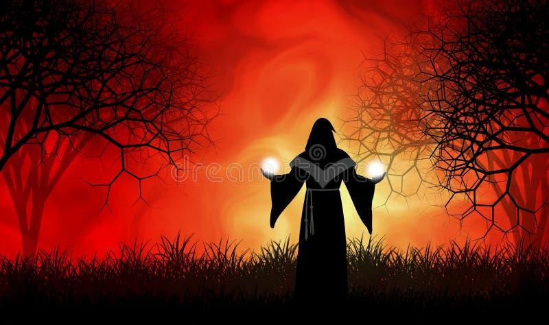 Uso del mago su magia en bosque espeluznante del horror ilustración del vector