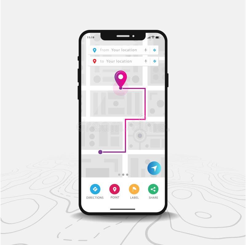 Uso del mapa de la navegación GPS, de Smartphone del mapa y punta púrpura en la pantalla ilustración del vector