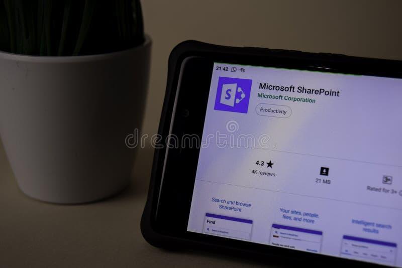 Uso del revelador del Microsoft SharePoint en la pantalla de Smartphone SharePoint es un freeware fotos de archivo