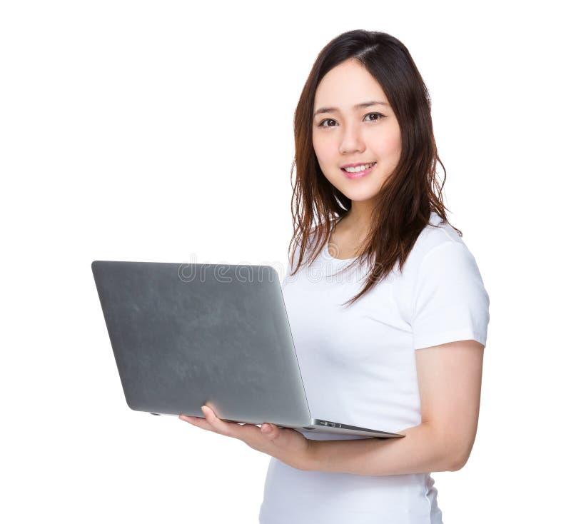 Download Uso Della Giovane Donna Del Computer Portatile Fotografia Stock - Immagine di laptop, coreano: 55356520