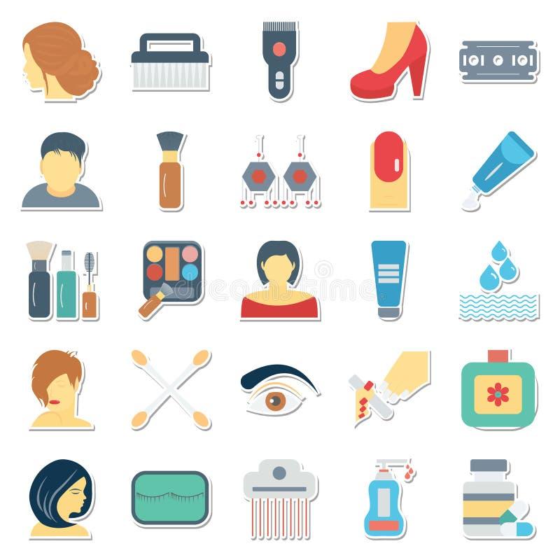 Uso delle icone di vettore della stazione termale e di bellezza per i progetti del salone e della stazione termale di bellezza illustrazione di stock