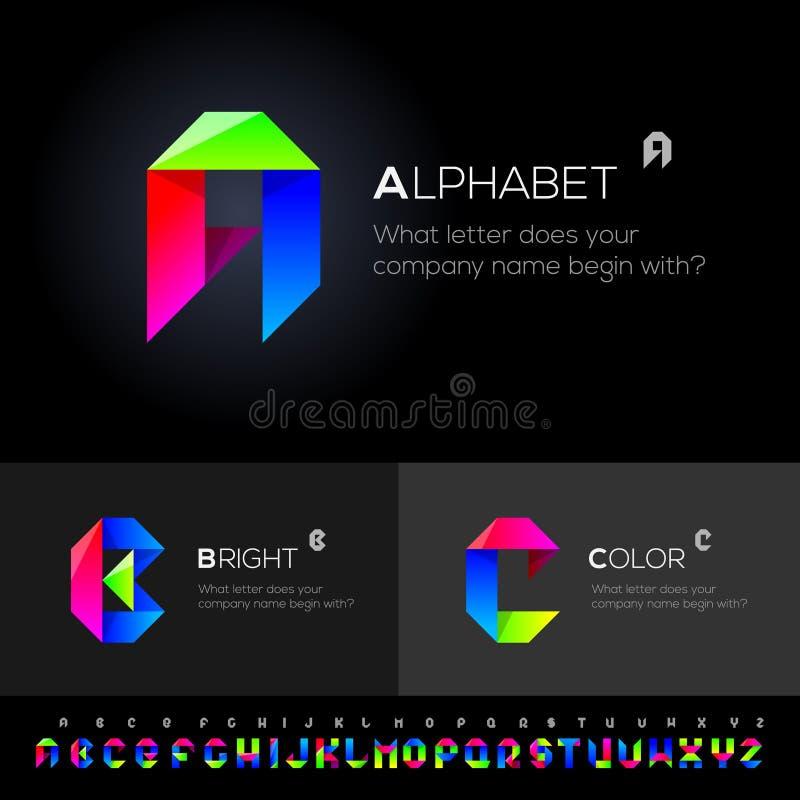 Uso determinado del alfabeto del vector como elementos del diseño ilustración del vector
