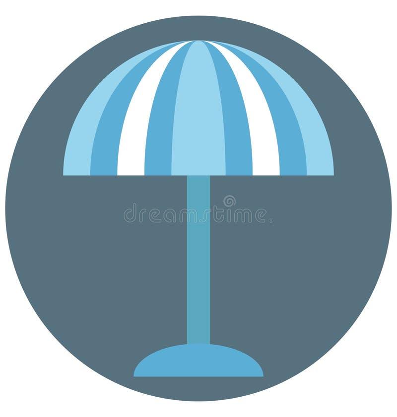 Uso editável do ícone da cor da ilustração do guarda-chuva de praia e especial fácil isolado vetor para o lazer, o curso e a excu ilustração royalty free