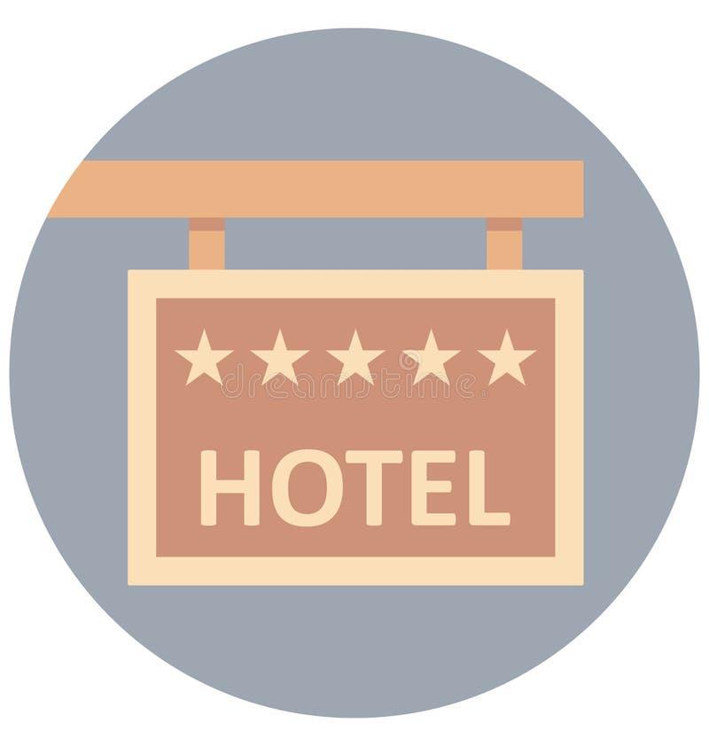 Uso editable del icono del color del ejemplo del letrero del hotel y especial fácil aislado vector para el ocio, el viaje y el vi ilustración del vector