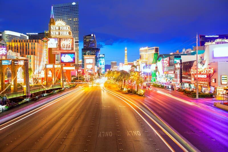Uso editorial somente Las Vegas Nevada Strip na noite fotos de stock royalty free