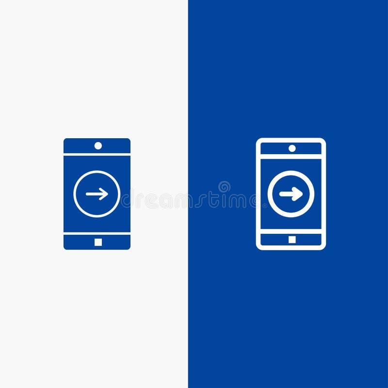Uso, la derecha, bandera azul de bandera del icono sólido del móvil, de la línea de la aplicación móvil y del Glyph del icono sól ilustración del vector