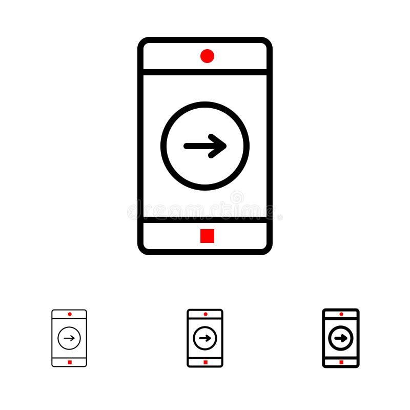 Uso, la derecha, línea negra intrépida y fina sistema del móvil, de la aplicación móvil del icono stock de ilustración
