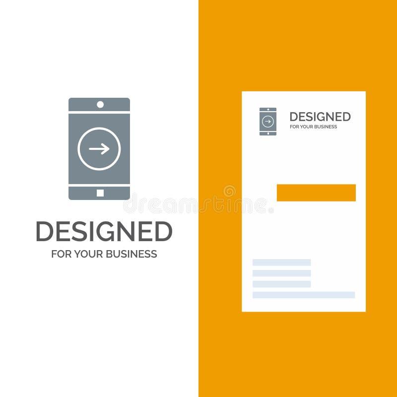 Uso, la derecha, móvil, aplicación móvil Grey Logo Design y plantilla de la tarjeta de visita stock de ilustración