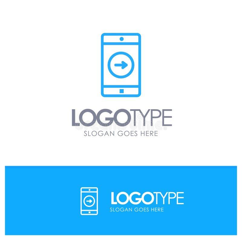 Uso, la derecha, móvil, esquema azul Logo Place de la aplicación móvil para el Tagline libre illustration