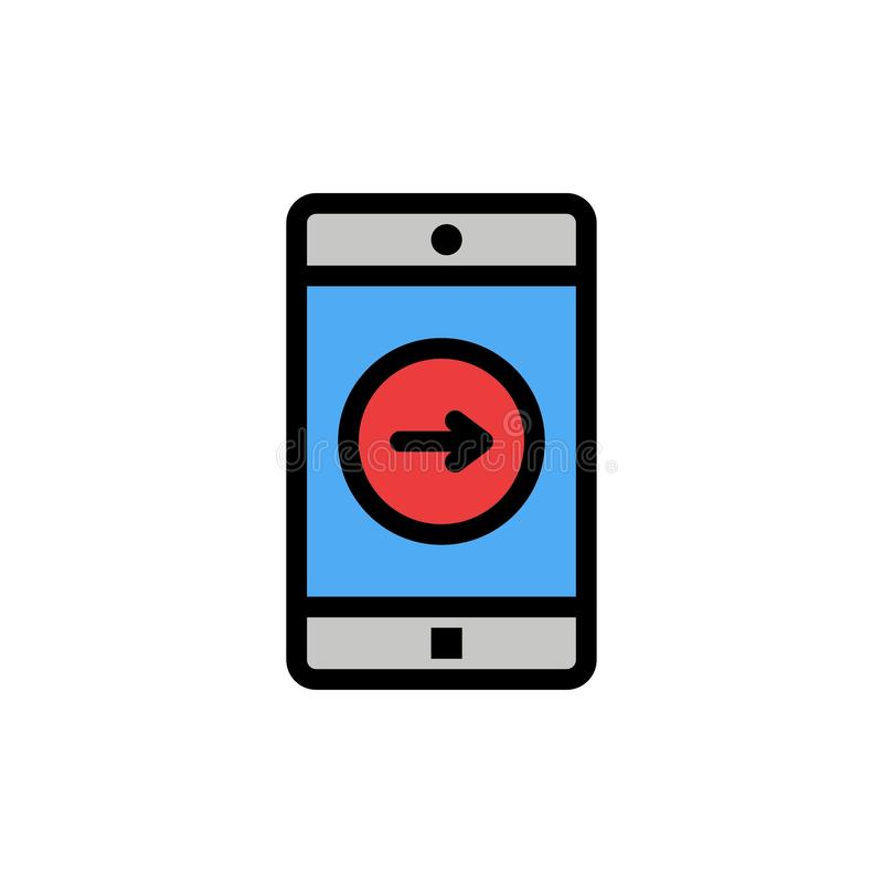 Uso, la derecha, móvil, icono plano del color de la aplicación móvil Plantilla de la bandera del icono del vector stock de ilustración