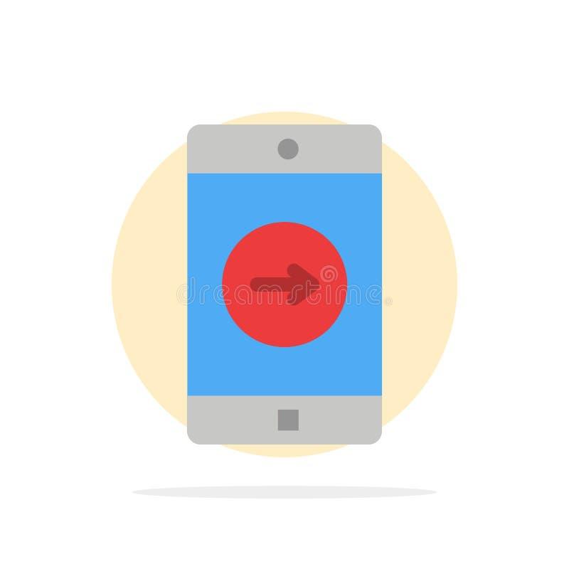 Uso, la derecha, móvil, icono plano del color de fondo del círculo del extracto de la aplicación móvil stock de ilustración