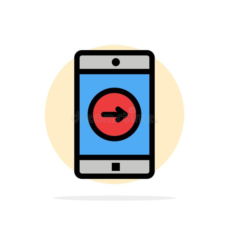 Uso, la derecha, móvil, icono plano del color de fondo del círculo del extracto de la aplicación móvil ilustración del vector