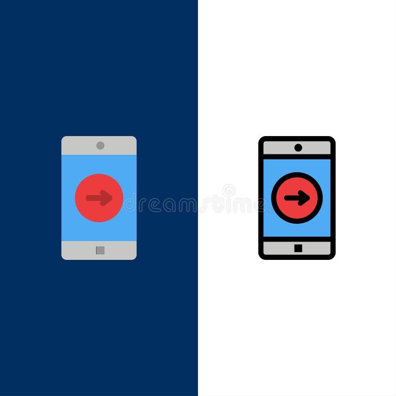 Uso, la derecha, móvil, iconos de la aplicación móvil El plano y la línea icono llenado fijaron el fondo azul del vector ilustración del vector