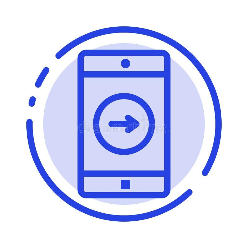 Uso, la derecha, móvil, línea de puntos azul línea icono de la aplicación móvil libre illustration