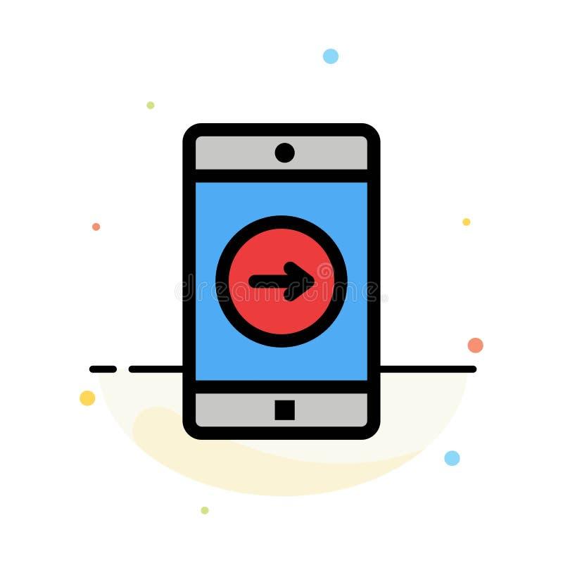 Uso, la derecha, móvil, plantilla plana del icono del color del extracto de la aplicación móvil libre illustration