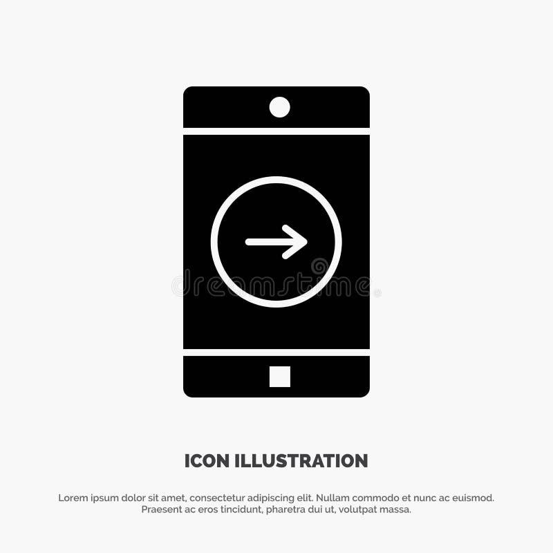 Uso, la derecha, móvil, vector sólido del icono del Glyph de la aplicación móvil stock de ilustración