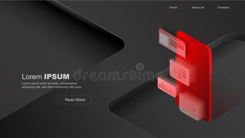 Uso móvel dos conceitos, dados pessoais Encabeçamento para o Web site com conceito do smartphone e dos módulos no fundo preto e v ilustração do vetor