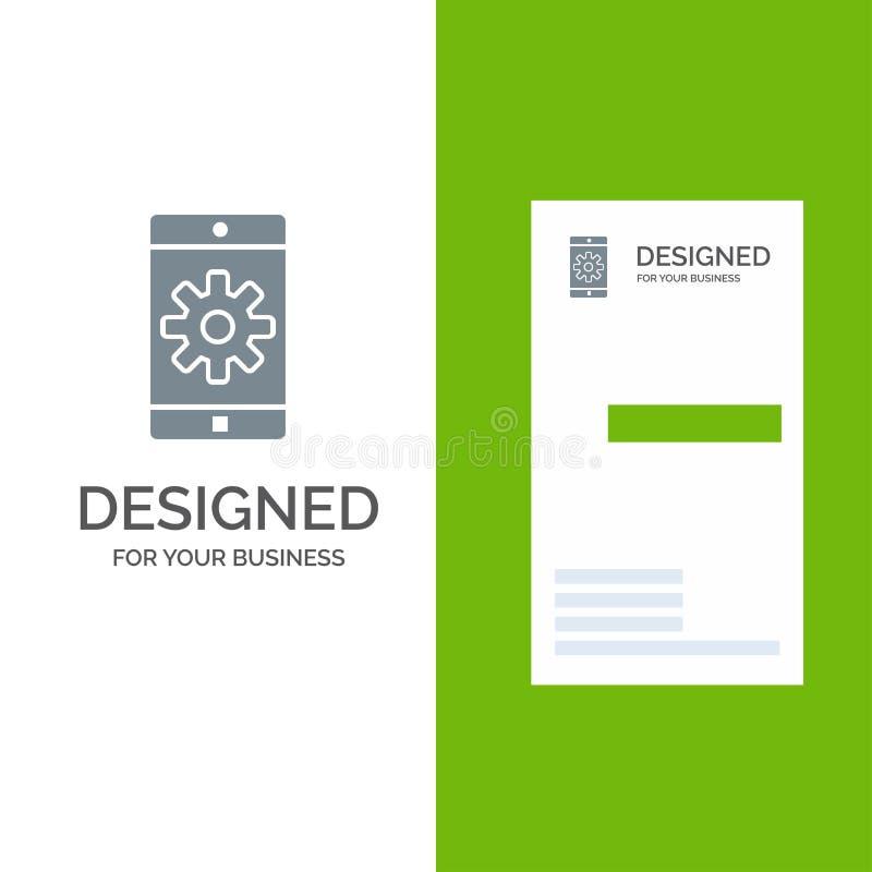 Uso, móvil, aplicación móvil, ajuste Grey Logo Design y plantilla de la tarjeta de visita libre illustration